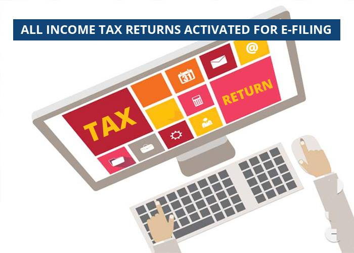 All Income Tax Returns Activated For E-filing
